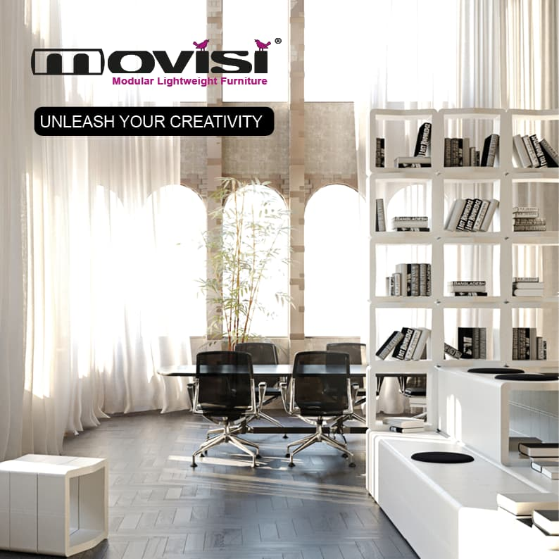 white bookcases and standing shelves Movisi modular furniture
