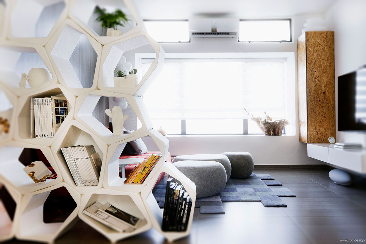 efficient apartments BUILD beehive honeycomb shelving room divider architectural interiors