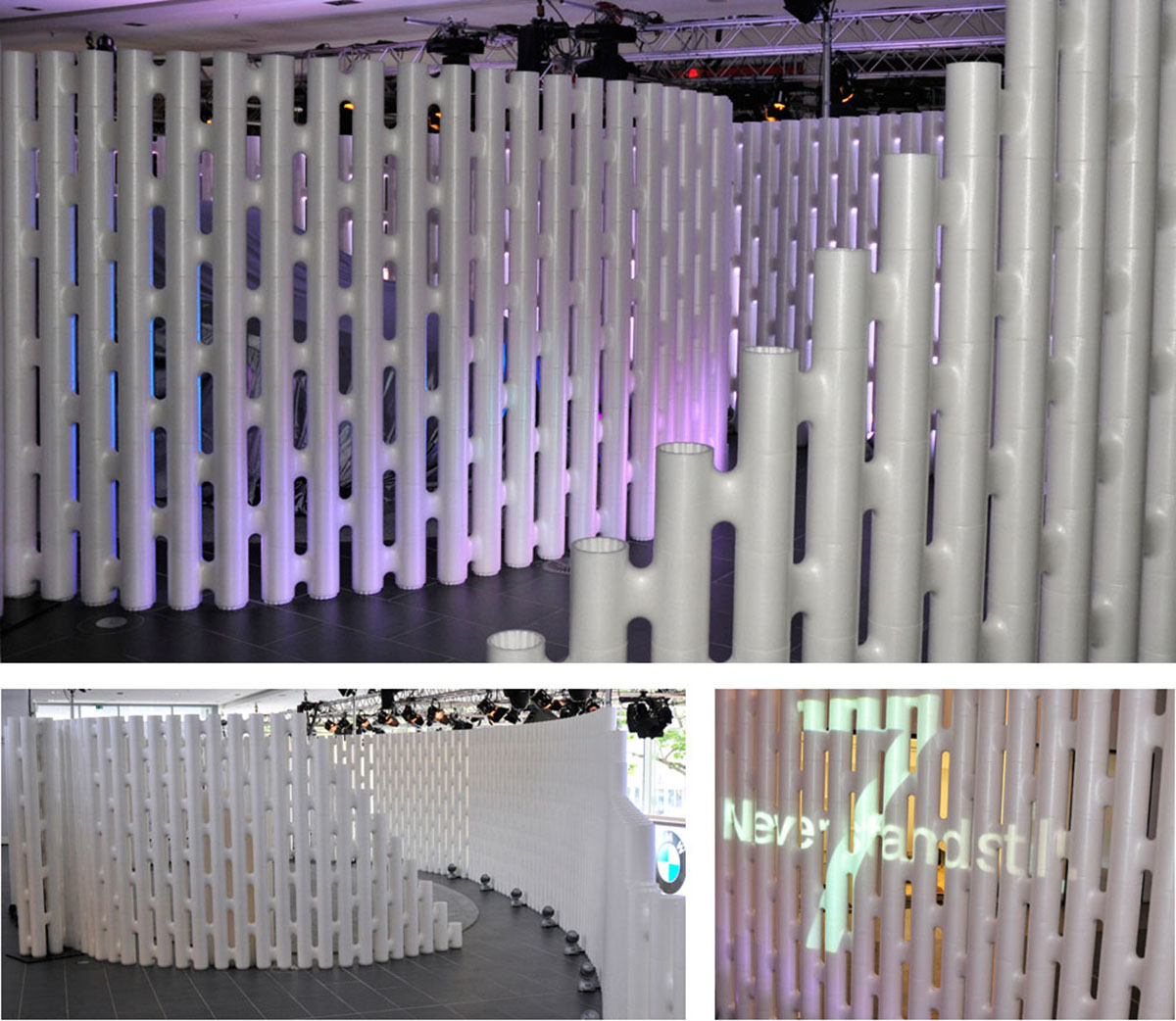 curved wall partition shrouding walkways Movisi event furniture BMW