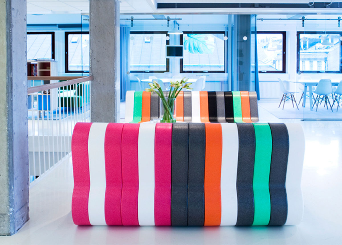 colourful office seating bench modular furniture for office Movisi Q COUCH