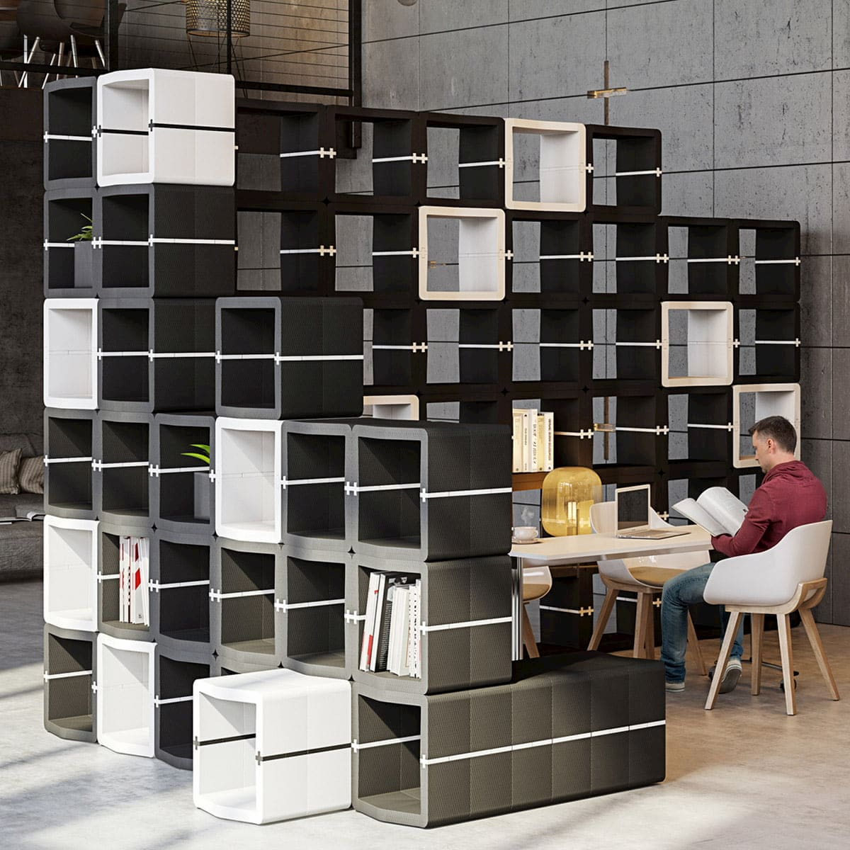 cube furniture modular shelving and open office design partition micro architecture movisi
