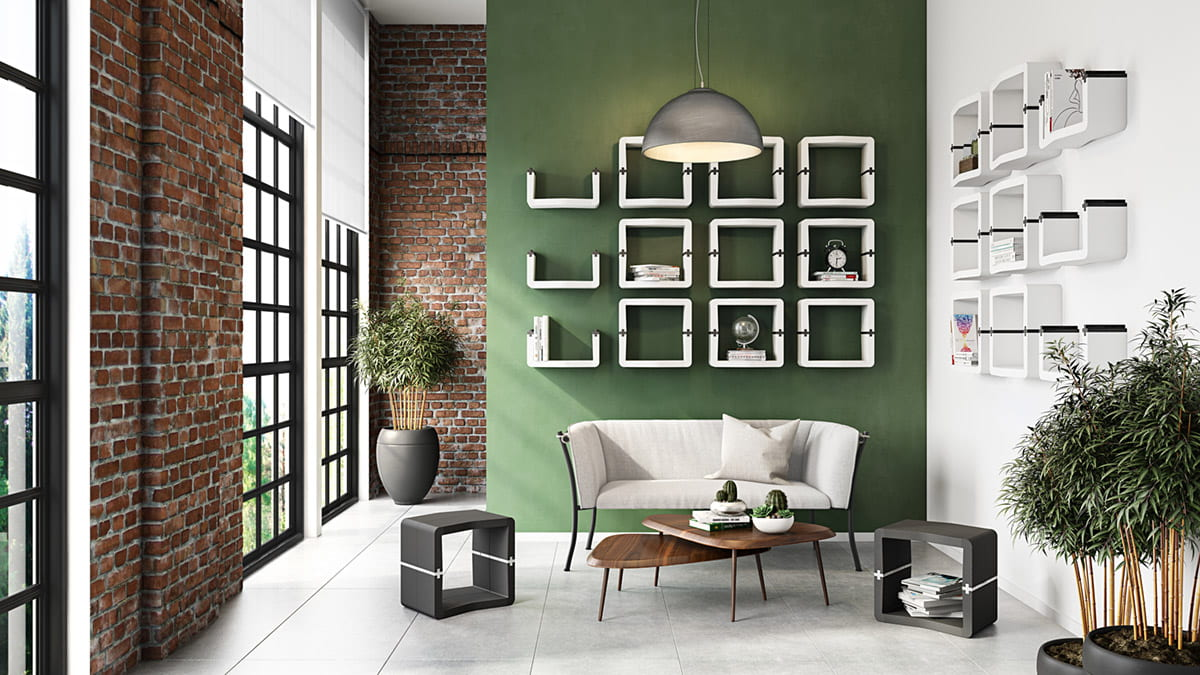 modular customisable wall shelves Movisi living room design cube furniture green wall