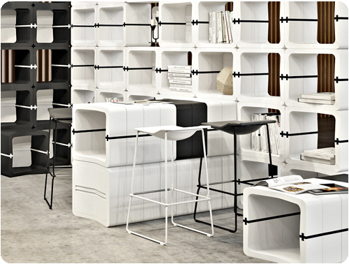 U CUBE event fair furniture modular black white movisi