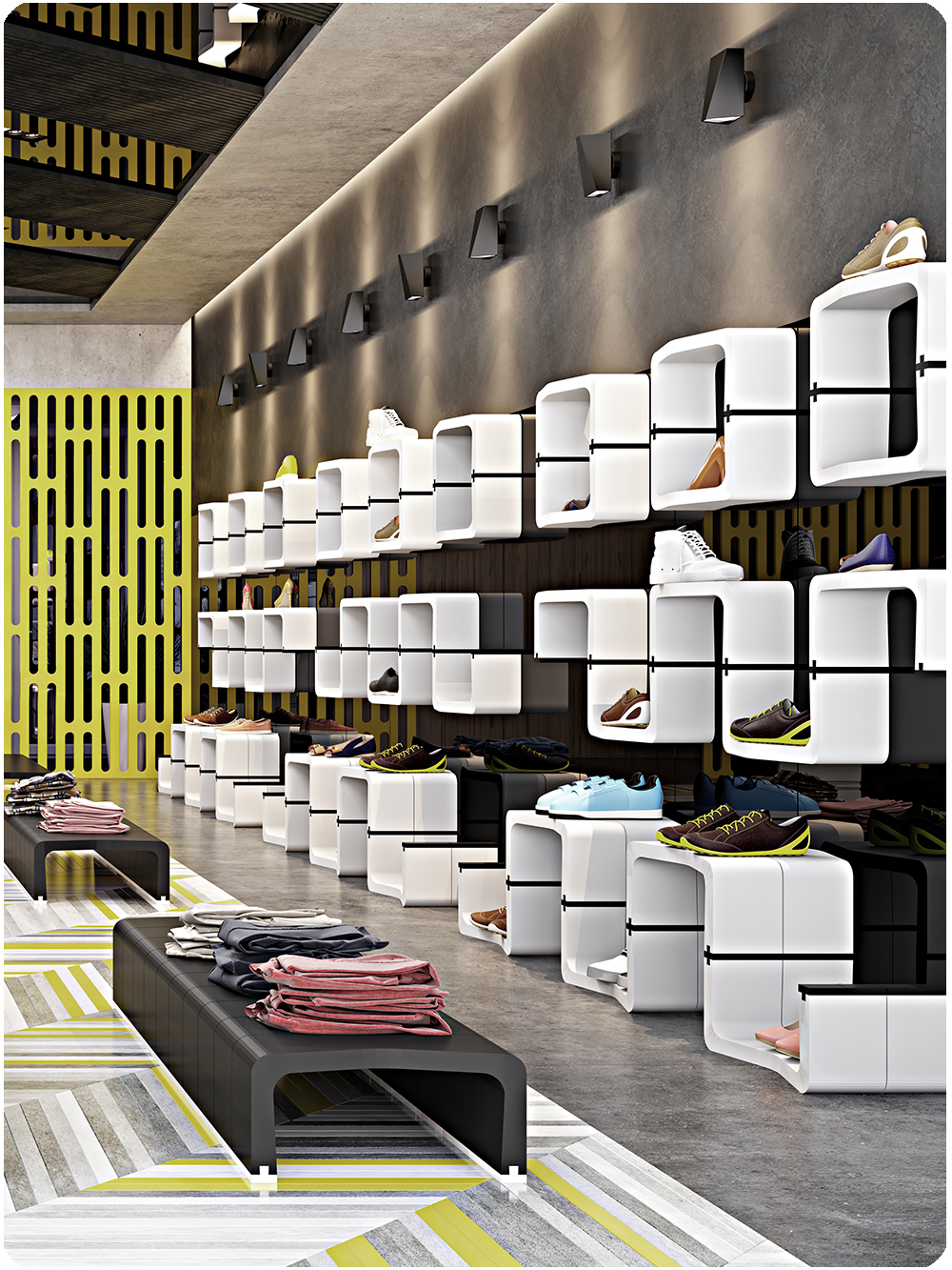 U CUBE shop fitting furniture shelving shoe movisi